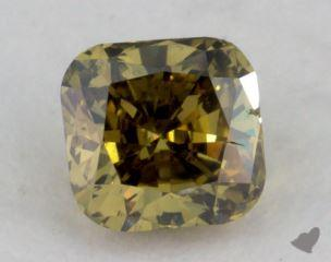 cushion0.27 Carat fancy deep greenish greenish yellow