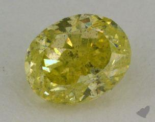 oval0.76 Carat fancy intense greenish yellow