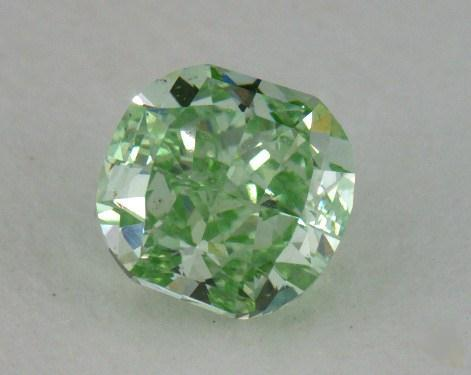 0.72 Carat FANCY VIVID GREEN-VS2 Cushion Cut Diamond