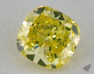 cushion0.28 Carat fancy intense greenish yellow