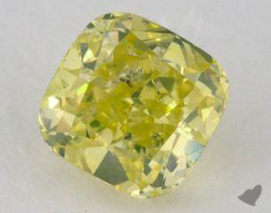 cushion1.55 Carat fancy vivid greenish yellow
