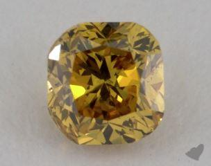 cushion0.39 Carat fancy deep orangy yellowVS1