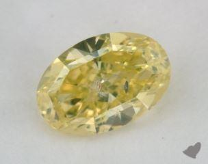 oval0.52 Carat fancy intense greenish yellow