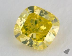 cushion0.35 Carat fancy vivid greenish yellowSI2