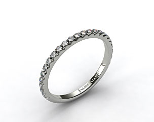 18k White Gold French Cut Pave Set Diamond Wedding Ring