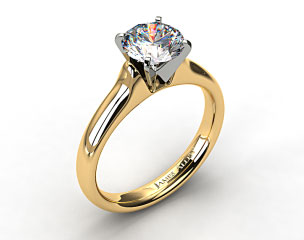 18k Yellow Gold Heavy Contour Solitaire Engagement Ring