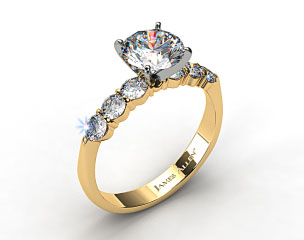 18k Yellow Gold Common Prong Six Round Diamond Engagement Ring