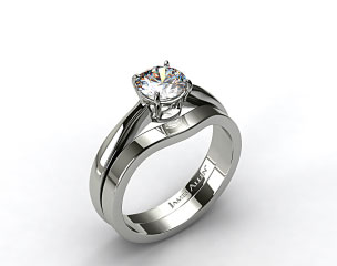 Platinum 2.2mm Wire Basket Solitaire Ring & 2.3mm Curved Wedding Ring