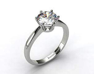 18k White Gold Six Prong Wire Basket Engagement Ring