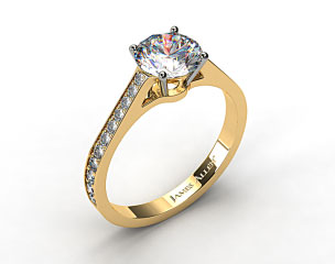 18k Yellow Gold 2.2mm Pave Diamond Engagement Ring
