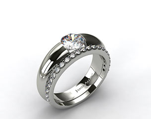 18k White Gold Round Brilliant Bar Set Solitaire Ring & 0.33ct Common Prong Wedding Ring