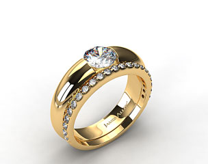 18k Yellow Gold Round Brilliant Bar Set Solitaire Ring & Common Prong Wedding Ring