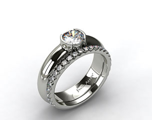 18k White Gold 5.4mm Half-Bezel Solitaire Ring & French Cut Pave Set Wedding Ring