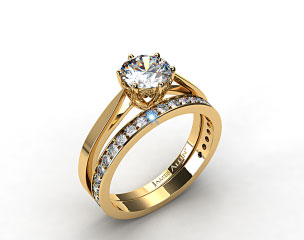 18k Yellow Gold Tapered Six Prong Filigree Basket Solitaire Engagement Ring & 0.17ct Pave Set Wedding Ring