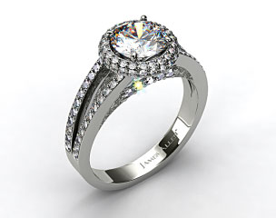14k White Gold Pave Split Shank Halo Diamond Engagement Ring