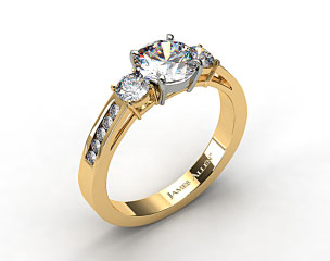 18k Yellow Gold Round Shaped Three Stone Channel Set Diamond Engagement Ring