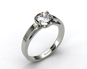 Platinum Six Prong Flat Tab Solitaire Engagement Ring