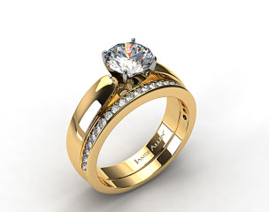 18k Yellow Gold 3.8mm Rounded Cathedral Solitaire Engagement Ring & .28ct Channel Set Wedding Band