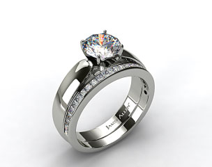 14k  White Gold 3.8mm Rounded Cathedral Solitaire Engagement Ring & .63ct Channel Set Wedding Ring