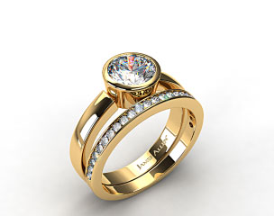18k Yellow Gold Bezel Set Round Diamond Solitaire Ring & .28ct Channel Set Wedding Band