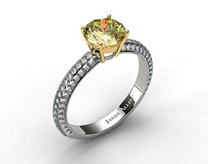 18k White Gold 0.52ct Three Row Pave Set Rounded Diamond Engagement Ring (Yellow Gold Basket)