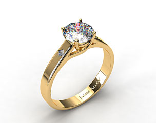 18k Yellow Gold Cross Prong Diamond Accent Solitaire Ring