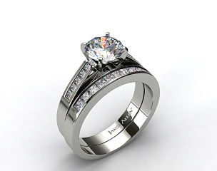 Platinum 0.25ct Channel Princess Engagement Ring & 0.30ct Princess Channel Wedding Ring