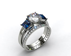 18k White Gold Three Stone Princess Shaped Blue Sapphire Engagement Ring & 0.26ct Pave Eternity Band