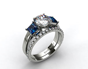 18k White Gold Three Stone Princess Shaped Blue Sapphire Engagement Ring & French Cut Pave Wedding Ring