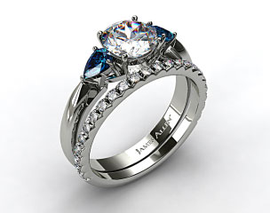 Platinum Three Stone Pear Shaped Blue Sapphire Engagement Ring & French Cut Pave Wedding Ring