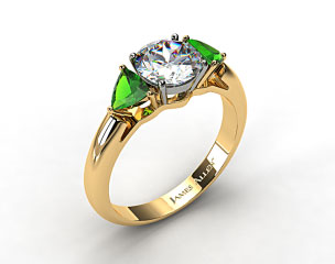 18k Yellow Gold Three Stone Trillion Shaped Emerald Engagement Ring