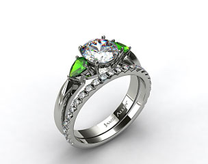 Platinum 3-Stone Pear Emerald Engagement Ring & French Cut Pave Set Wedding Ring
