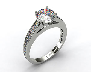 Platinum Channel Set Carre Shaped Diamond Engagement Ring