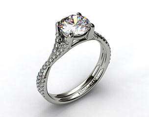 14k White Gold Twisted Pave Shank Contemporary Solitaire