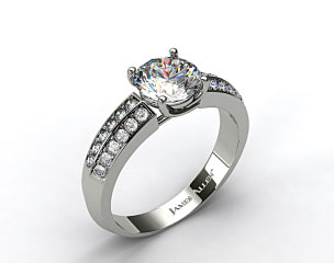 14k White Gold 3.2-4.5mm Pave Knife Edge Engagement Ring