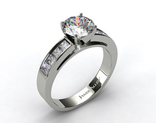 14k White Gold Channel Set Princess Shaped Engagement Ring