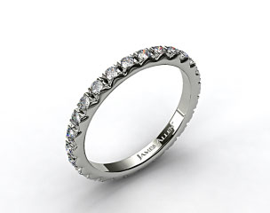 Platinum 0.56ct French-Cut Pave Set Diamond Eternity Wedding Ring