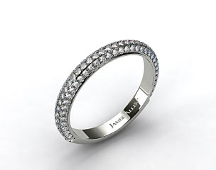 Platinum 1.15ctw Rounded Pave Set Diamond Wedding Ring