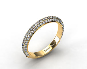 14K Yellow Gold 1.15ctw Rounded Pave Set Diamond Wedding Ring