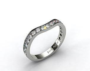 Ladies 0.42ctw Curved Pave Set Diamond Wedding Ring
