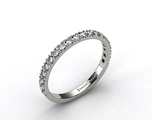 Platinum 0.29ct Art-Nouveau Pave Set Diamond Wedding Ring
