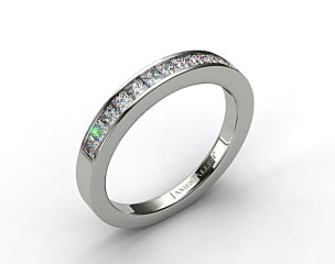 14K White Gold 0.52ct Channel Set Princess Diamond Wedding Ring