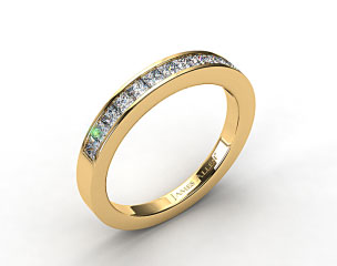 14K Yellow Gold 0.52ct Channel Set Princess Diamond Wedding Ring