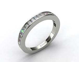 14K White Gold 0.57ct Channel Set Princess Diamond Wedding Ring