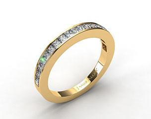 14K Yellow Gold 0.57ct Channel Set Princess Diamond Wedding Ring