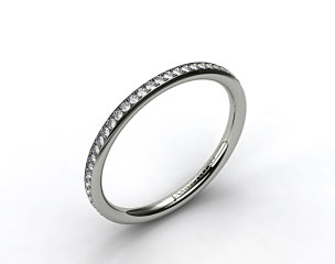 18k White Gold 2mm, 48 Stone, 0.27ctw Matching Pave Wedding Band