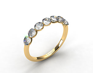 18k Yellow Gold Scalloped Share Prong Wedding Ring