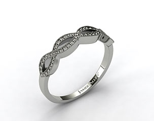 14K White Gold Vintage Infinity Wedding Band
