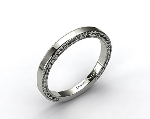 Platinum Etched Rope Wedding Band
