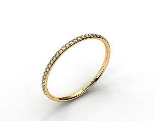 18K Yellow Gold Pave Rounded Wedding Band